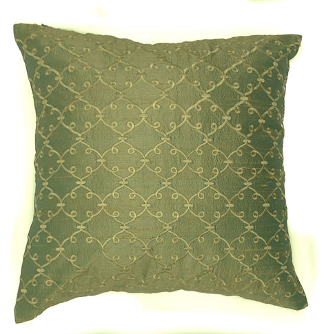 "pillow raw silk lattce pattern mint green 16"" x 16"""
