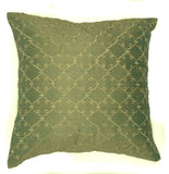 "Raw Silk Embroidered Lattice Pattern, Minty Green - 16"" x 16"""