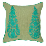 "pillow paisley embroidered cotton natural/aqua 16"" x 16"""