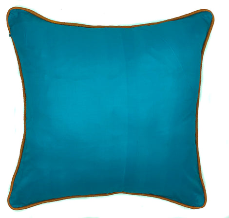 "Silk Pillow with Contrast Piping, Turquoise/Orange - 16"" x 16"""