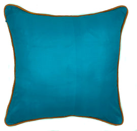 Silk Pillow with Contrast Piping, Turquoise/Orange - 16