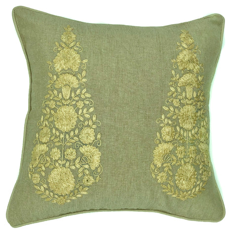 "pillow paisley embroidered cotton natural/tan 16"" x 16"""