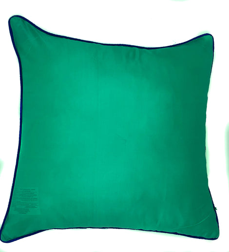 "Silk Pillow with Contrast Piping, Aqua Green/Royal Blue - 16"" x 16"""