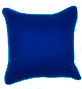 Silk Pillow with Contrast Piping - Royal Blue/Turquoise - 16