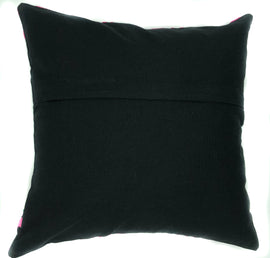 Suzani Style Pillow, Black/Multi-Colour Embroidered - 16