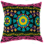 "Suzani Style Pillow, Black/Multi-Colour Embroidered - 16"" x 16"""