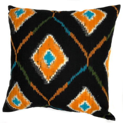 "pillow ikat black/orange cotton 24"" x 24"""