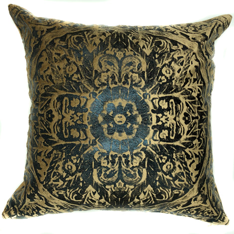 "Velvet Embossed Medallion Printed Pillow, Black/Beige - 20"" x 20"""