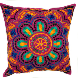 "Suzani Style Embroidered Pillow - 20"" x 20"""