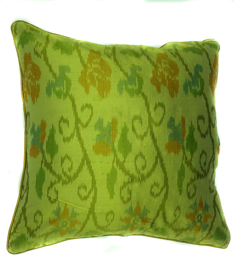 "pillow raw silk Ikat pattern green/gold 16"" x 16"""