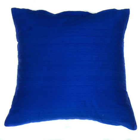 "pillow raw silk solid royal blue 16"" x 16"""
