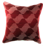 "pillow raw silk ikat pattern red 16"" x 16"""