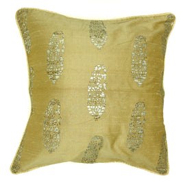 "Raw Silk Printed Indian Floral Motif, Gold/Metallic - 16"" x 16 """