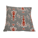 "Ikat Pattern Pillow, Grey/Orange - 20"" x 20"""