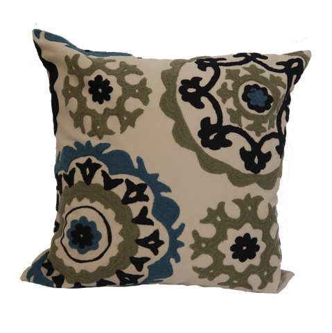 "Suzani Style Beige Embroidered Pillow - 20"" x 20"""