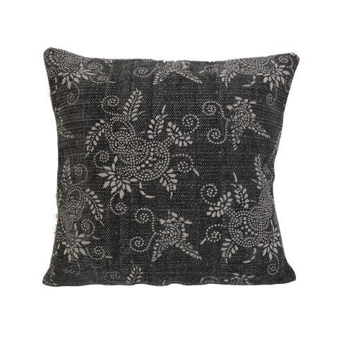 "pillow floral woven rug design dark grey 18"" x 18"""