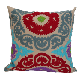 "Suzani Style Beige/Red Embroidered Pillow - 20"" x 20"""