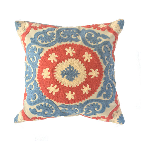 "Suzani Style Blue Embroidered Pillow - 16"" x 16"""