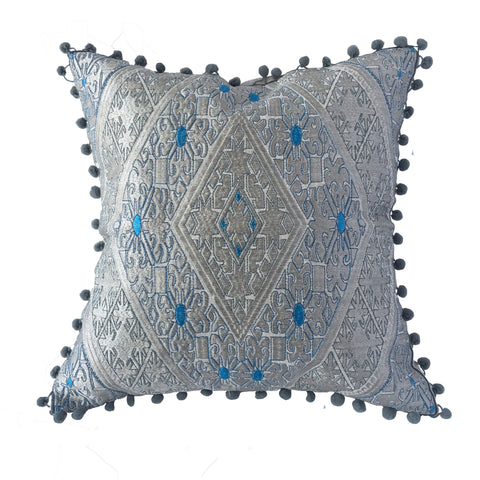 "Swat Valley Style Embroidered Pillow, Grey/Turquoise Accents - 16"" x 16"""