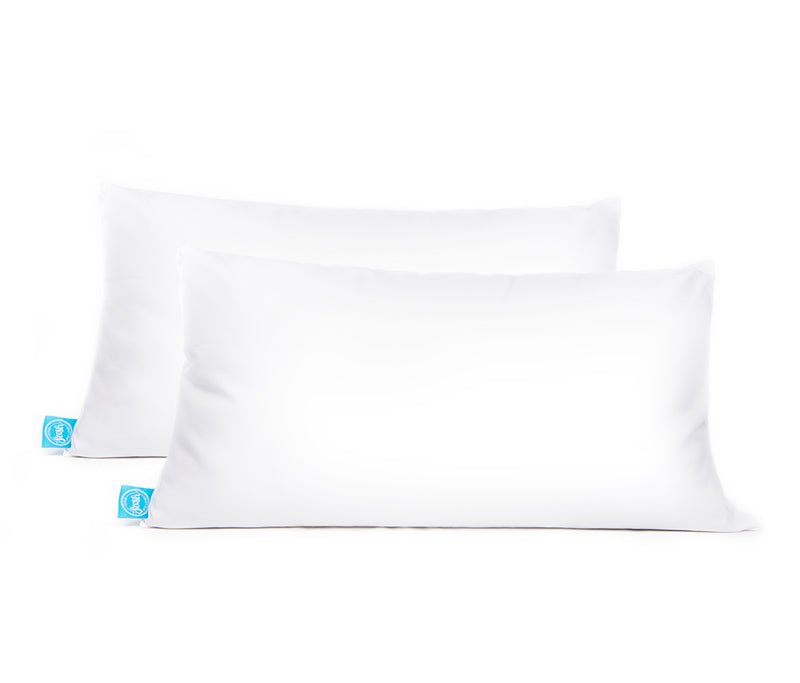 two white pillows, king size, with blue One Fresh Pillow tag