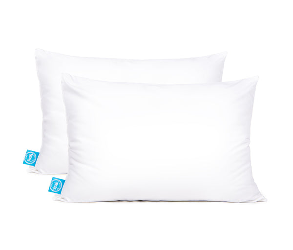 two white pillows, standard size, with blue One Fresh Pillow tag