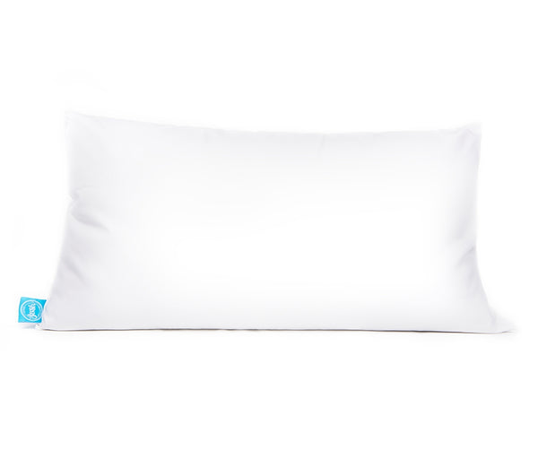 Single white pillow, king size, with blue One Fresh Pillow tag