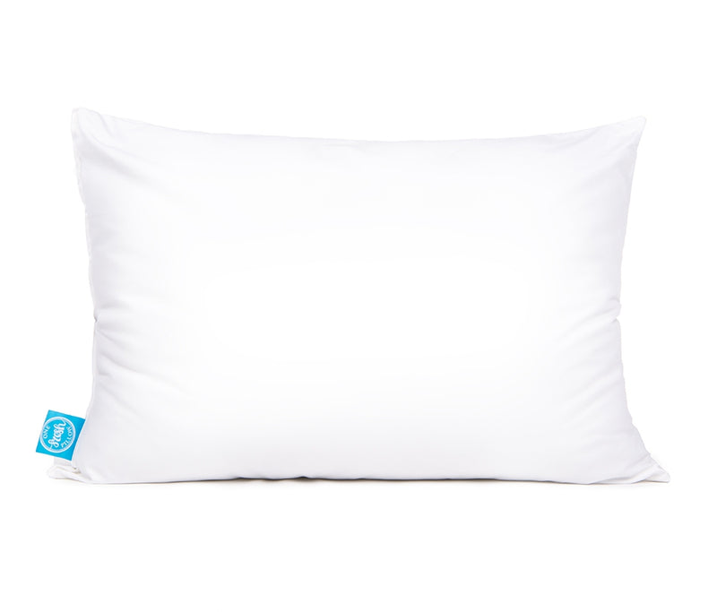 single white pillow with blue One Fresh Pillow tag