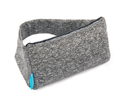 Heather Gray small rectangular pillow, with matching elastic strap and blue One Fresh Pillow tag, side view