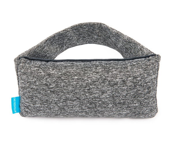 Heather Gray small rectangular pillow, with matching elastic strap and blue One Fresh Pillow tag, front view