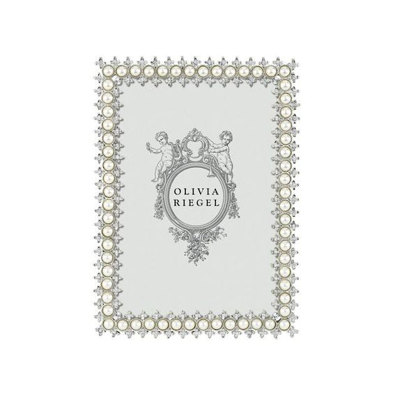 "Olivia Riegel Crystal and Pearl Frame, 4"" x 6"