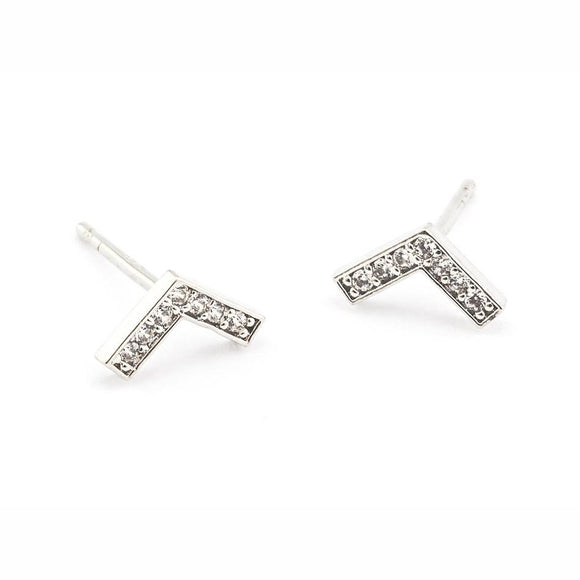 Tai Jewelry Silver Pave Chevron Post Earrings