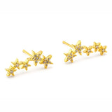Tai Jewelry Gold Pave 5 Star Earrings