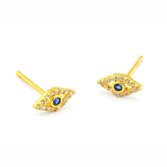 Tai Jewelry Gold Pave Evil Eye Earrings