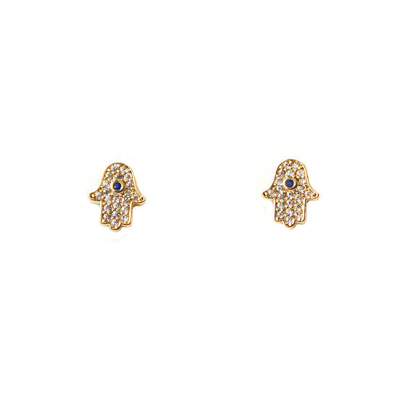 Tai Jewelry Gold Pave Hamsa Earrings
