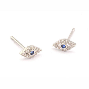 Tai Jewelry Silver Pave Evil Eye Earrings