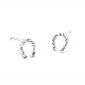 Tai Jewelry Silver Pave Mini Horseshoe Earrings
