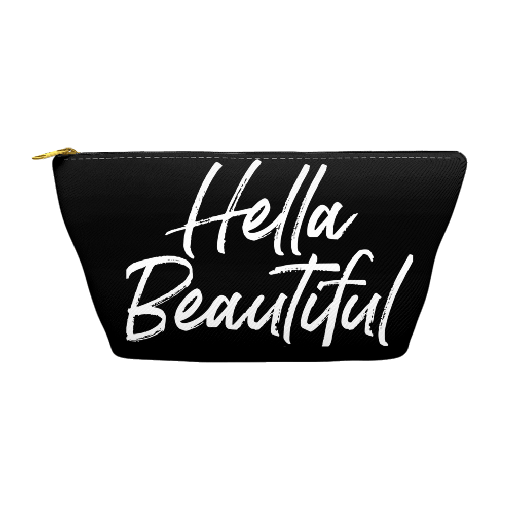 Hella Beautiful -- Accessory Pouches (black with white lettering)
