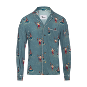 Midnight Snack (Long-Sleeve)- Blue.  Tombolo Company Unisex Hawaiian Shirt. Vintage-inspired clothing with a modern upgrade. Aloha shirts with comfort of pajamas and the fit of high fashion.