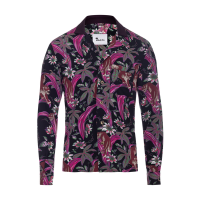 Lurking Jaguar Long Sleeve in Black and Pink with a purple contrast collar. Rayon-Cotton blend. Camp Collar. The softest Hawaiian shirt. Unisex.