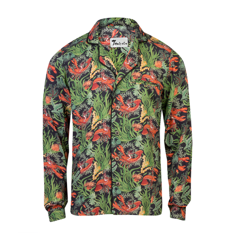 Lobster Rodeo Midnight Green- Tombolo Company's Unisex Hawaiian Shirt. Vintage-inspired clothing with a modern upgrade, aloha shirts and more.
