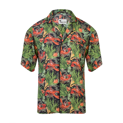 Lobster Rodeo (Short-Sleeve) Midnight Green- Tombolo Company's Unisex Hawaiian Shirt. Vintage-inspired clothing with a modern upgrade, aloha shirts and more.