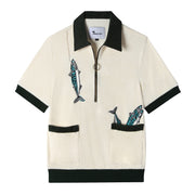 Angler Cabana Shirt. Tombolo's signature embroidered half-zip terrycloth offering.