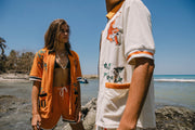 'Crouching Tiger, Hidden Beverage' Cabana Shirt (Orange)