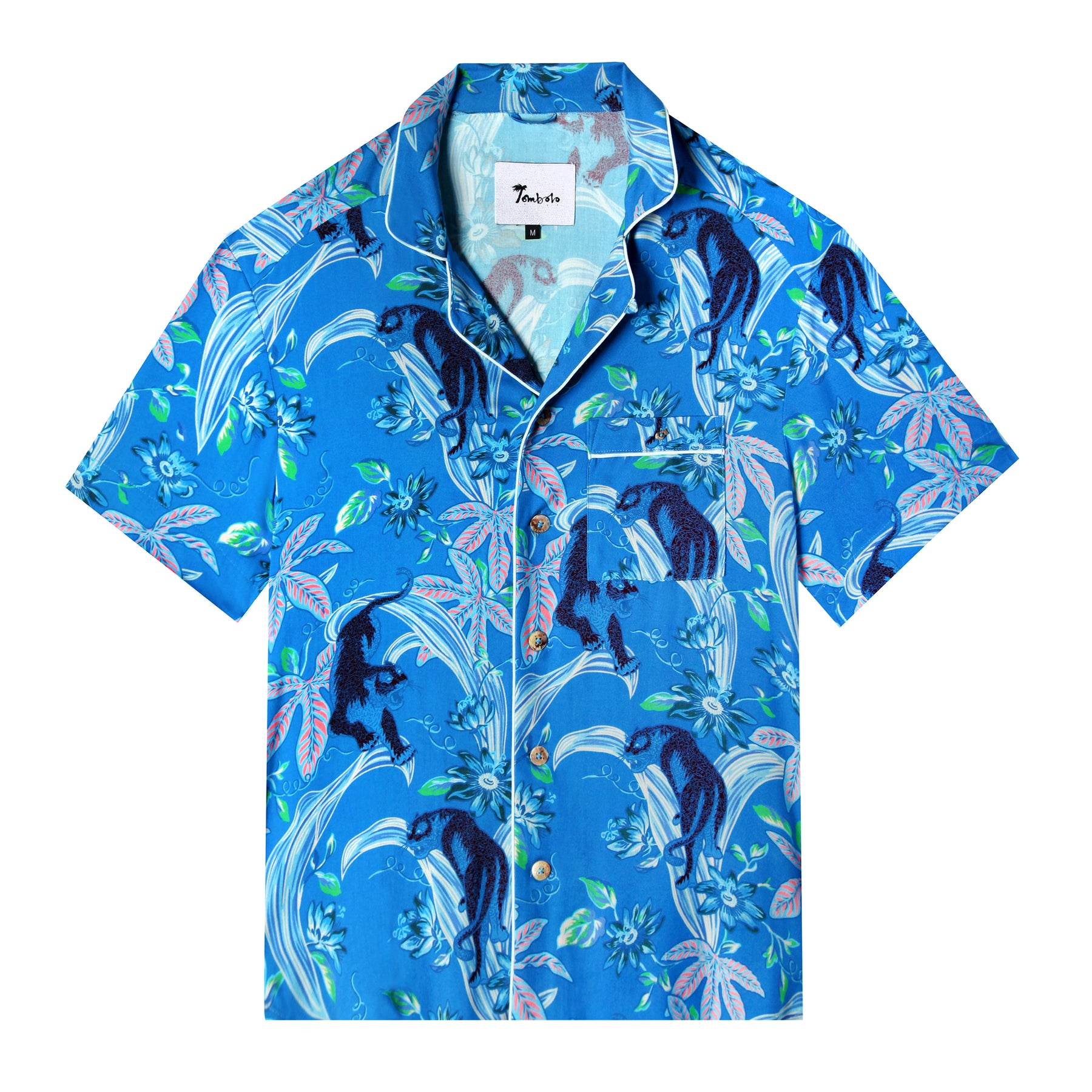 262e4df9e Lurking Jaguar (Azure Blue) (Short-Sleeve)- Hawaiian / Aloha Shirt ...