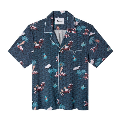 Playa of Eden (Short-sleeve)- Navy. Tombolo Company's Hawaiian Shirt. Unisex retro clothing with a modern upgrade and all-original designs. Island shirts ideal for summer fashion and beyond.