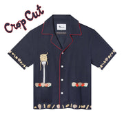 'Vongole!' Cabana ~ Crop Cut (Navy)