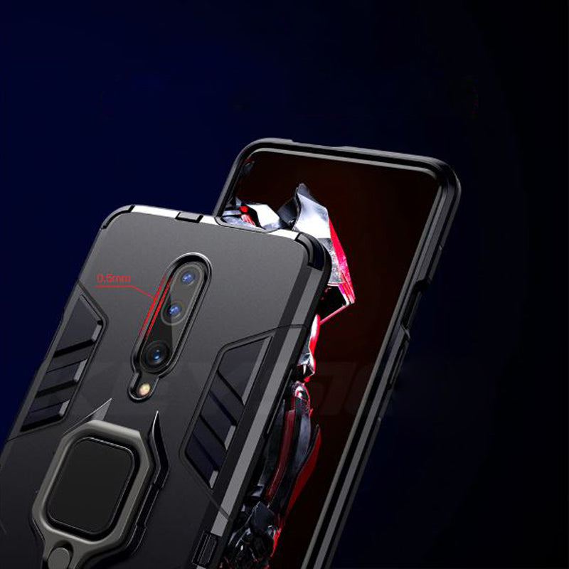 OnePlus 7 Pro Shockproof Rugged Iron Man Armour Case With Rotating Magnetic Ring