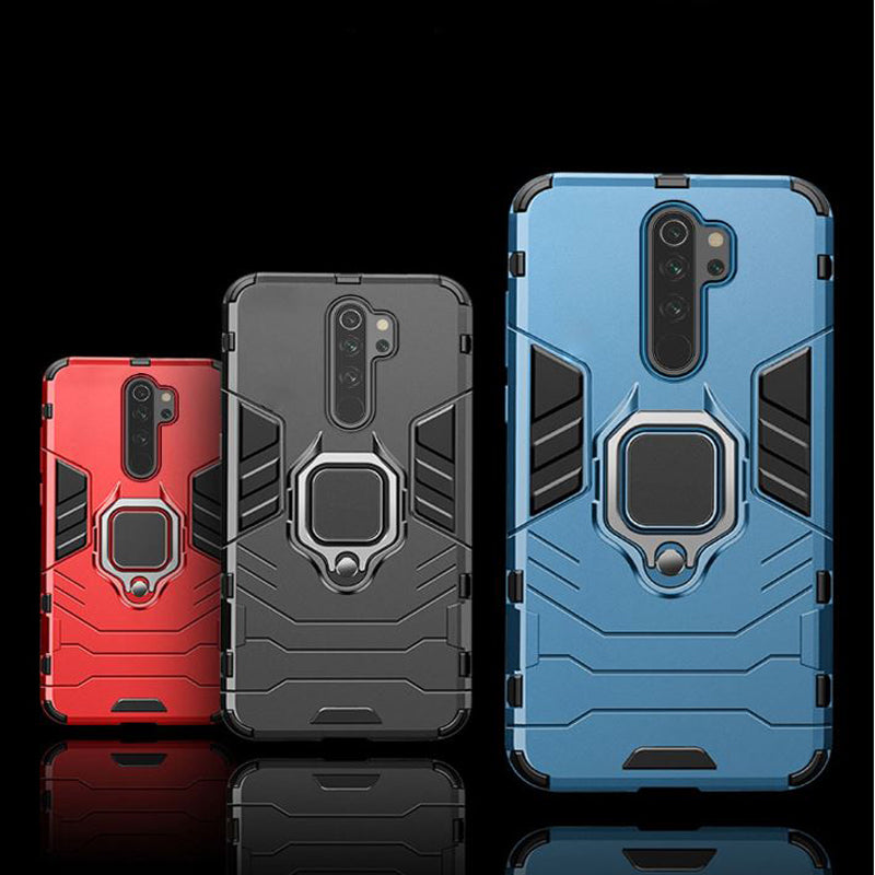 Redmi Note 8 Pro Shockproof Rugged Iron Man Armour Case With Rotating Magnetic Ring