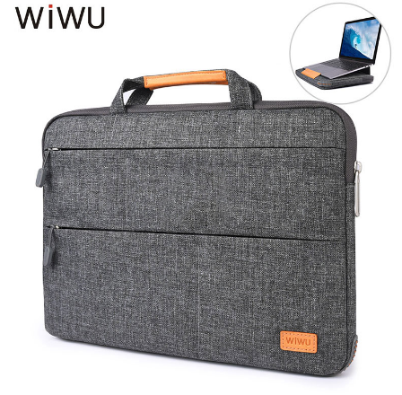 100% Original WIWU Laptop Bag Cum Laptop Stand Attached Magnetic Stand For New Macbooks 13.3/15.6 Inches Waterproof Nylon Sleeve Case With Sides Protection