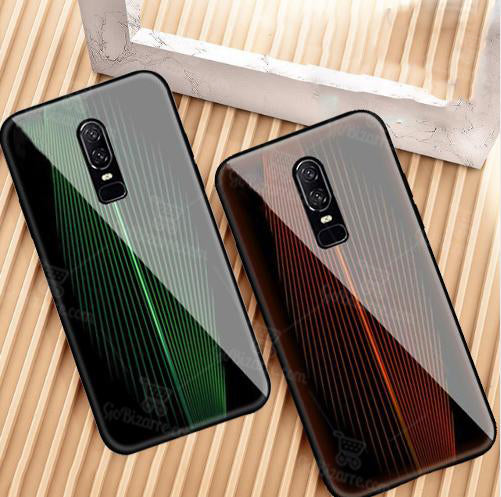 OnePlus 6 Electric Wave Design Toughened Glass Hard Case